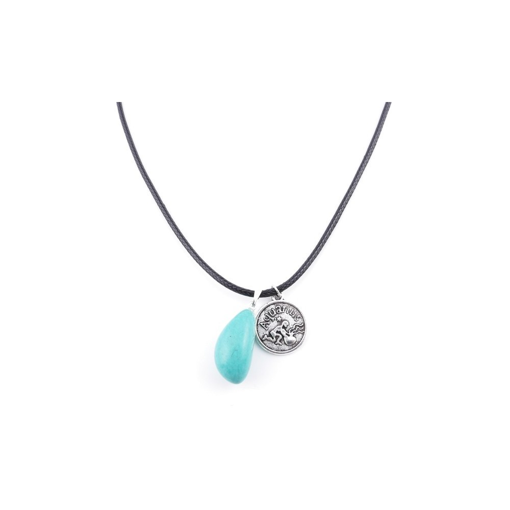 35542-01 CORD NECKLACE WITH AQUARIUS AMULET AND TURQUOISE STONE