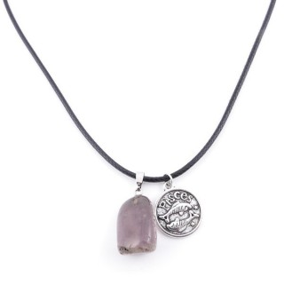 35542-02 CORD NECKLACE WITH PISCES AMULET AND AMETHYST STONE