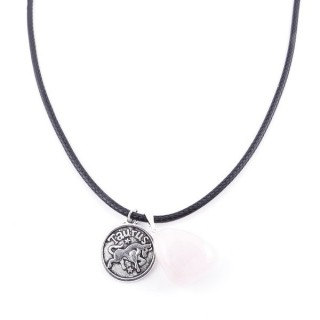 35542-04 CORD NECKLACE WITH TAURUS AMULET AND ROSE QUARTZ STONE