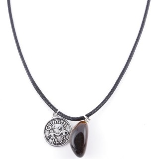 35542-05 CORD NECKLACE WITH GEMINI AMULET AND TIGER'S EYE STONE