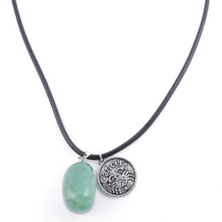 35542-06 CORD NECKLACE WITH CANCER AMULET AND AVENTURINE STONE