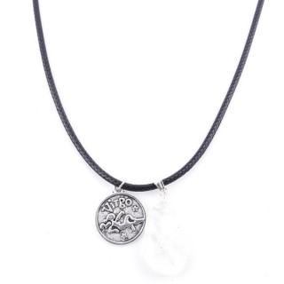 35542-08 CORD NECKLACE WITH VIRGO AMULET AND CRYSTAL QUARTZ STONE