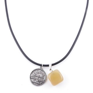 35542-09 CORD NECKLACE WITH LIBRA AMULET AND AGATE STONE