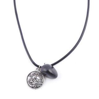 35542-10 CORD NECKLACE WITH SCORPIO AMULET AND ONYX STONE
