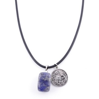 35542-11 CORD NECKLACE WITH SAGITTARIUS AMULET AND LAPIS LAZULI STONE