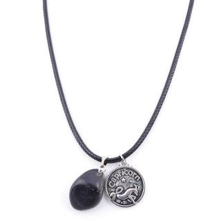 35542-12 CORD NECKLACE WITH CAPRICORN AMULET AND OBSIDIAN STONE