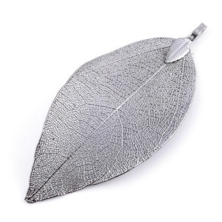 36151-07 FASHION JEWELLERY METAL LEAF SHAPED 58 X 36 MM APPROXIMATE SIZED PENDANT