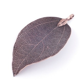 36151-08 FASHION JEWELLERY METAL LEAF SHAPED 58 X 36 MM APPROXIMATE SIZED PENDANT