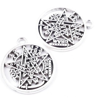 36154-04 PACK OF 3 FASHION JEWELRY METAL 30 MM TETRAGRAMMATON CHARMS