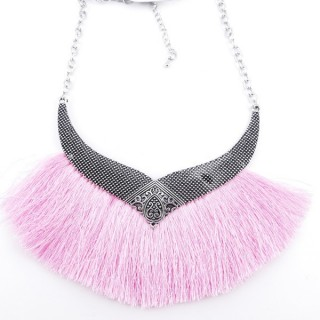 36239-02 FASHION JEWELRY METAL NECKLACE WITH TASSEL