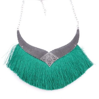 36239-03 FASHION JEWELRY METAL NECKLACE WITH TASSEL