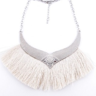 36239-06 FASHION JEWELRY METAL NECKLACE WITH TASSEL