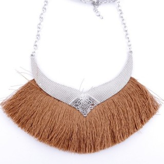 36239-07 FASHION JEWELRY METAL NECKLACE WITH TASSEL
