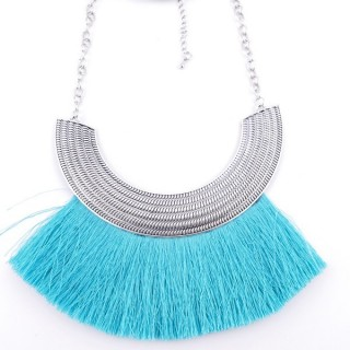 36239-09 FASHION JEWELRY METAL NECKLACE WITH TASSEL