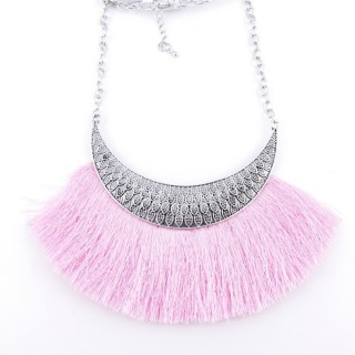 36239-11 FASHION JEWELRY METAL NECKLACE WITH TASSEL