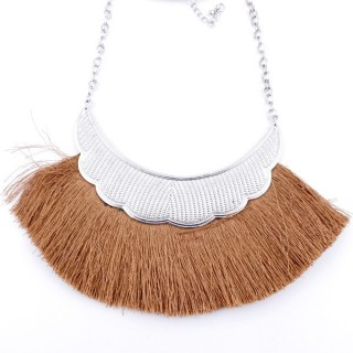 36239-28 FASHION JEWELRY METAL NECKLACE WITH TASSEL