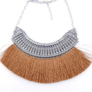36239-30 FASHION JEWELRY METAL NECKLACE WITH TASSEL