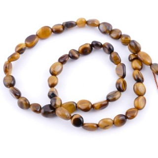 40026 IRREGULAR SHAPED 40 CM LONG STRING OF NATURAL TIGER'S EYE STONE BEADS