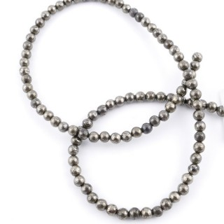 43503 STRING OF 90 BEADS OF 4 MM PYRITE STONE