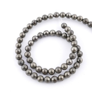 43504 STRING OF 64 BEADS OF 6 MM PYRITE STONE