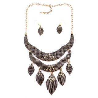 36260-26 METAL FASHION JEWELRY NECKLACE WITH OR WITHOUT EARRINGS