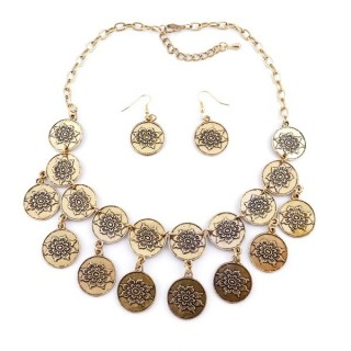 36260-30 METAL FASHION JEWELRY NECKLACE WITH OR WITHOUT EARRINGS