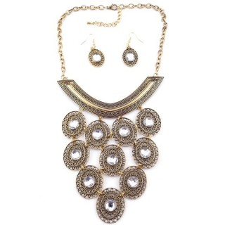 36260-32 METAL FASHION JEWELRY NECKLACE WITH OR WITHOUT EARRINGS
