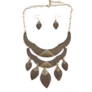 36260-46 METAL FASHION JEWELRY NECKLACE WITH OR WITHOUT EARRINGS