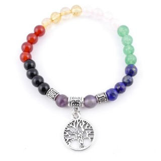 36475-02 ELASTIC 7 CHAKRA MINERAL STONE BRACELET WITH FASHION JEWELRY TREE OF LIFE CHARM