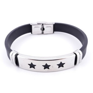 36133-10 STAINLESS STEEL & RUBBER MENS' FASHION BRACELET