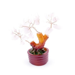36292-04 CERAMIC TREE FIGURE WITH ROSE QUARTZ STONES: 9 CM