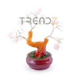 36293-04 CERAMIC TREE FIGURE WITH ROSE QUARTZ STONES: 13 CM