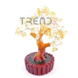 36294-03 CERAMIC TREE FIGURE WITH CITRINE STONES: 15 CM