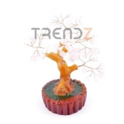 36294-04 CERAMIC TREE FIGURE WITH ROSE QUARTZ STONES: 15 CM