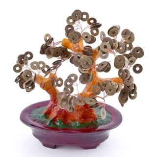 36296 CERAMIC TREE FIGURE WITH FENG SHUI COINS: 21 CM