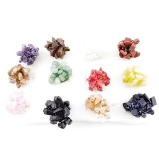 36338 PACK OF 12 ELASTIC BEADED RINGS WITH NATURAL CHIP STONES