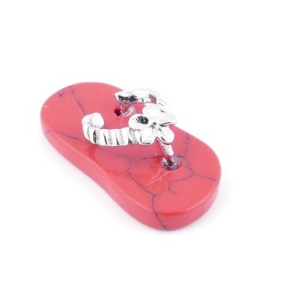 35011-23 SLIPPER SHAPED 23 X 12 MM FASHION JEWELLERY PENDANT WITH RED HOWLITE STONE