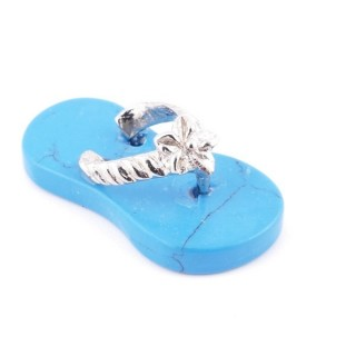 35011-19 SLIPPER SHAPED 23 X 12 MM FASHION JEWELLERY PENDANT WITH TURQUOISE STONE