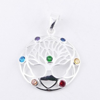 50026 STERLING SILVER PENDANT WITH GLASS STONES IN THE 7 CHAKRAS 27 MM