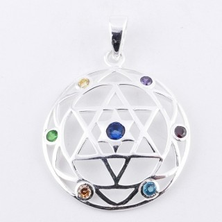 50027 STERLING SILVER PENDANT WITH GLASS STONES IN THE 7 CHAKRAS 27 MM