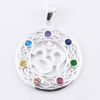 50029 STERLING SILVER PENDANT WITH GLASS STONES IN THE 7 CHAKRAS 27 MM