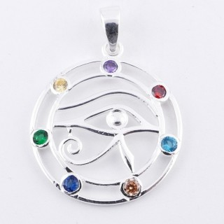 50030 STERLING SILVER PENDANT WITH GLASS STONES IN THE 7 CHAKRAS 27 MM
