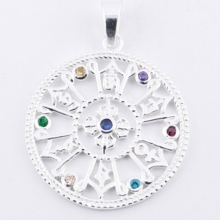 34229 STERLING SILVER PENDANT WITH GLASS STONES IN THE 7 CHAKRAS 30 MM