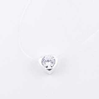 52002 STERLING SILVER 40 CM SILICON NECKLACE WITH 8 MM HEART PENDANT