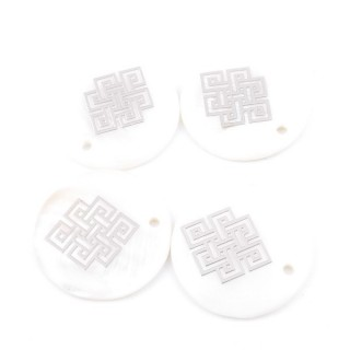 33016-14 PACK OF 4 SHELL 25 MM PENDANTS OF ENDLESS KNOT