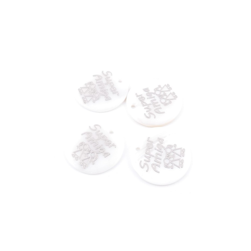 33016-25 PACK OF 4 SHELL 25 MM PENDANTS OF SUPER AMIGAS