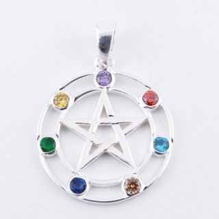 50038 STERLING SILVER PENDANT WITH GLASS STONES IN THE 7 CHAKRAS 25 MM