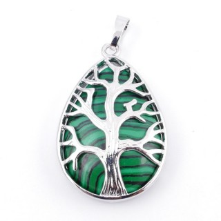 36104-06 TREE OF LIFE 35 X 26 MM PENDANT WITH STONE IN MALACHITE