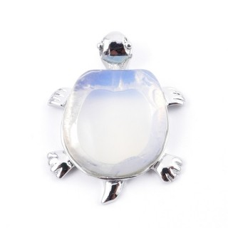 35805-08 METAL TURTLE SHAPED FASHION PENDANT WITH STONE IN OPALINE