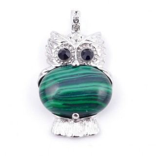 35804-06 FASHION JEWELRY METAL OWL SHAPED PENDANT WITH STONE IN MALACHITE